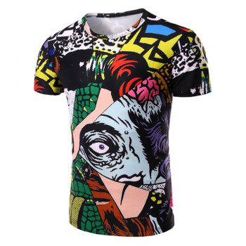 Cartoon Spliced 3D Print Pattern Round Neck Short Sleeve Men's T-Shirt