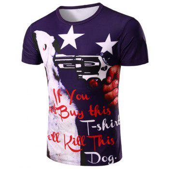 Letter and Gun 3D Print Pattern Round Neck Short Sleeve Men's T-Shirt