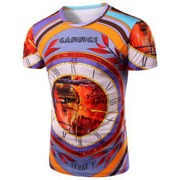 Bell 3D Print Pattern Round Neck Short Sleeve Men's T-Shirt