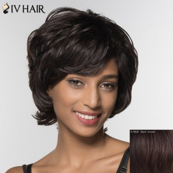 Stylish Curly Short Inclined Bang Siv Hair Human Hair Wig For Women