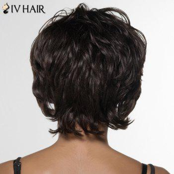 Stylish Curly Short Inclined Bang Siv Hair Human Hair Wig For Women -  DARK BROWN