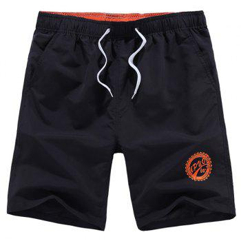 Solid Color Lace-Up Letters Pattern Straight Leg Men's Shorts