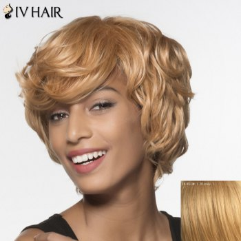Stylish Siv Hair Short Curly Human Hair Wig For Women - BLONDE BLONDE