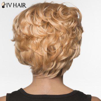 Stylish Siv Hair Short Curly Human Hair Wig For Women -  BLONDE
