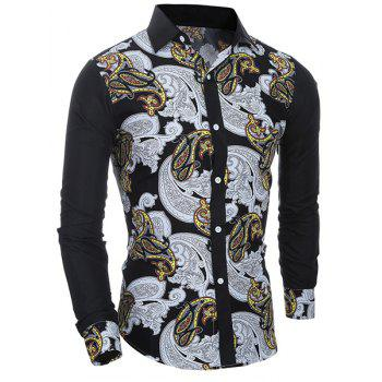 Casual National Style Printing Turn Down Collar Shirt For Men - BLACK M