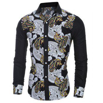 Casual National Style Printing Turn Down Collar Shirt For Men