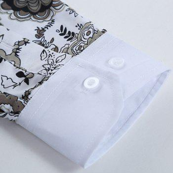 Plant Printing Turn Down Collar Shirt For Men - COLORMIX L