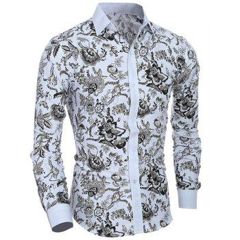 Plant Printing Turn Down Collar Shirt For Men