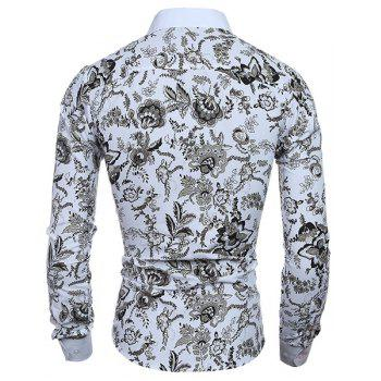 Plant Printing Turn Down Collar Shirt For Men - COLORMIX XL