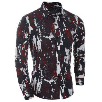 Camo Printing Turn Down Collar Shirt For Men