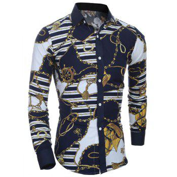 Retro Style Printing Turn Down Collar Shirt For Men