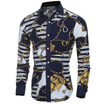 Retro Style Printing Turn Down Collar Shirt For Men - COLORMIX L