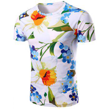 Floral 3D Print Pattern Round Neck Short Sleeve Men's T-Shirt