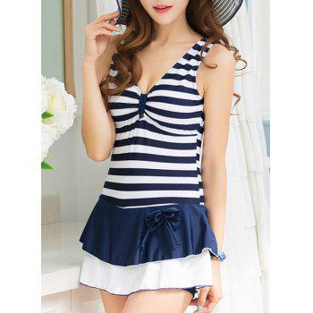 Stylish Flounced Plunging Neck Striped Women's Swimwear