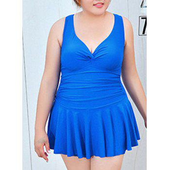 Fashionable Women's Flounced Plunging Neck Swimwear