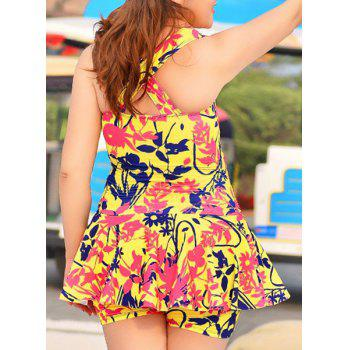 Sweet Printed Cross Back Plunging Neck Women's Swimwear
