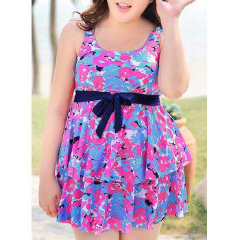 Sweet Floral Flounced Tie-Up Women's One-Piece Swimwear