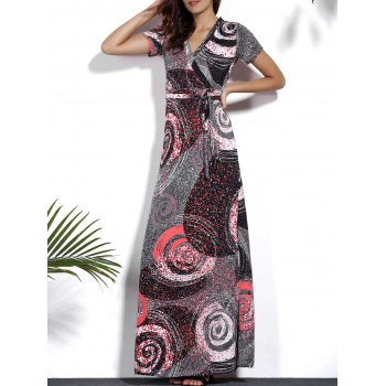 Trendy V-Neck Short Sleeve Circle Print Plus Size Dress For Women