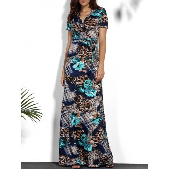 Chic Printed V-Neck Short Sleeve Maxi Dress For Women