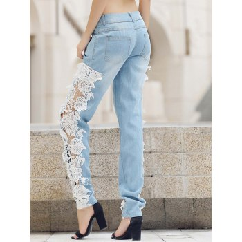 Trendy Mid-Waisted Lace Spliced Hollow Out Pocket Design Women's Jeans