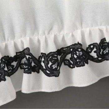 Graceful V Neck Flare Sleeve Embroidered Chiffon Women's Blouse - WHITE WHITE
