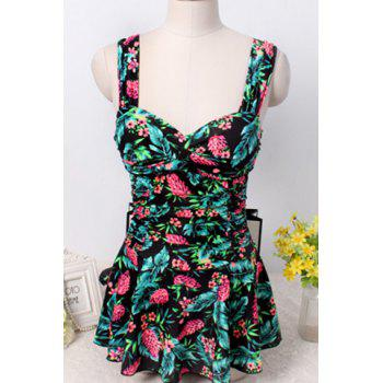 Sweet Style Sweetheart Neck Floral Print One-Piece Women's Swimwear