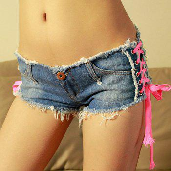 Trendy Low-Waisted Lace-Up Pocket Design Women's Denim Shorts