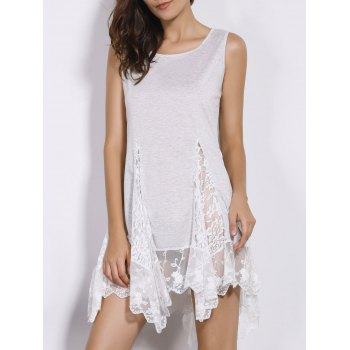 Sweet Women's Scoop Neck White Lace Spliced Dress