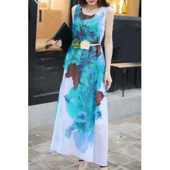 Casual Scoop Neck Sleeveless Tie Belt Floral Printed Women's Chiffon Dress