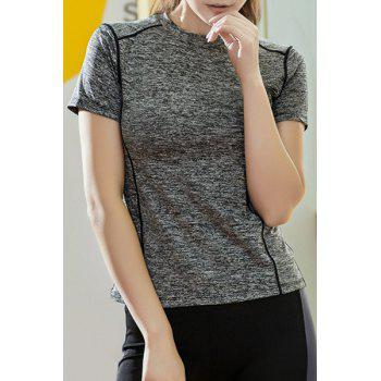 Fashionable Stand Collar Short Sleeves Candy Color Women's Sport T-Shirt