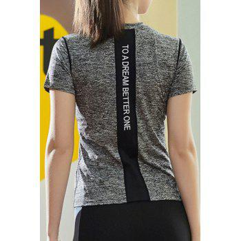 Fashionable Stand Collar Short Sleeves Candy Color Women's Sport T-Shirt - GRAY L
