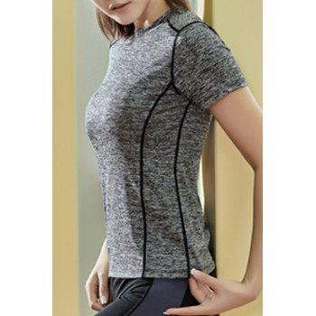 Fashionable Stand Collar Short Sleeves Candy Color Women's Sport T-Shirt - GRAY XL