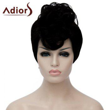 Fashion Black Short Fluffy Straight Synthetic Adiors Hair Bump Wig For Women