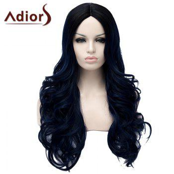 Fluffy Wavy Long Synthetic Fashion Black Ombre Dark Blue Middle Part Adiors Wig For Women