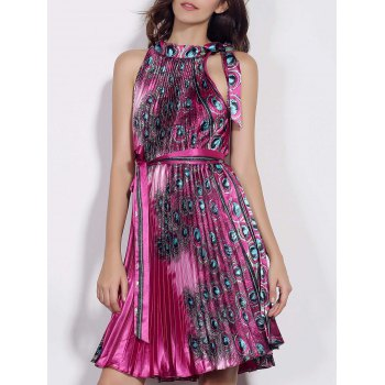 Fashionable Sleeveless Stand Collar Pleated Printed Women's Dress