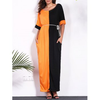 Contrast Insert Pocket Design Maxi Dress