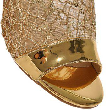 Fashionable Solid Colour and Mesh Design Women's Slippers - GOLDEN 39