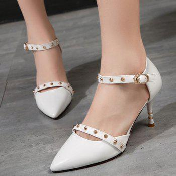 Fashion Rivets and Pointed Toe Design Women's Pumps - 38 38