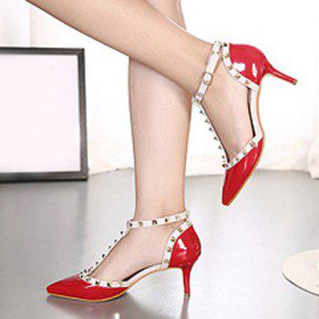 Stylish T-Strap and Pointed Toe Design Women's Pumps - 38 38