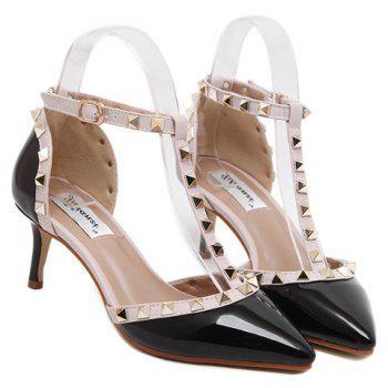 Stylish T-Strap and Pointed Toe Design Women's Pumps