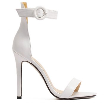 Concise Ankle Strap and Stiletto Heel Design Women's Sandals - WHITE 35