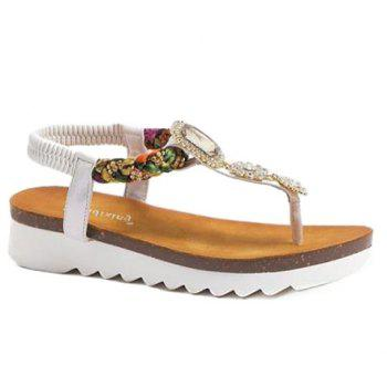 Leisure Rhinestones and Weaving Design Women's Sandals