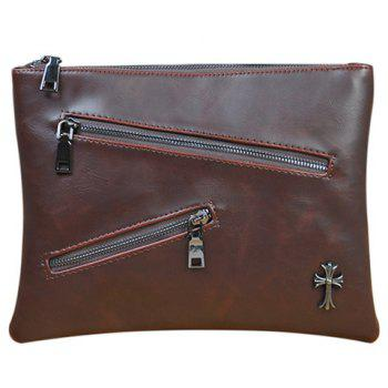 Vintage Zips and Cross Design Men's Clutch Bag
