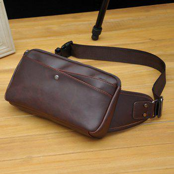 Leisure PU Leather and Solid Color Design Men's Messenger Bag -  COFFEE