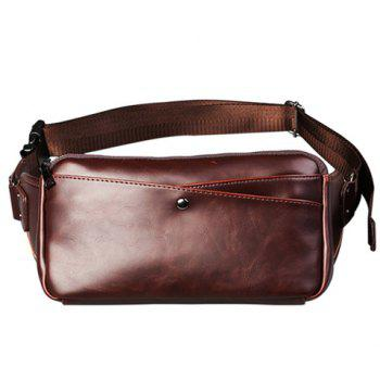 Leisure PU Leather and Solid Color Design Men's Messenger Bag - COFFEE COFFEE