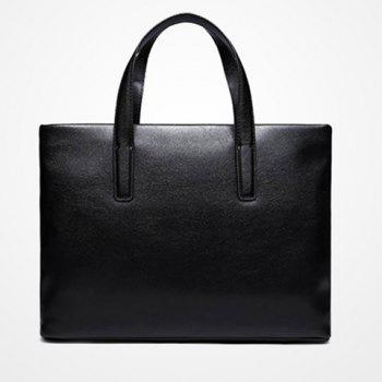 Simple PU Leather and Black Design Men's Briefcase - BLACK