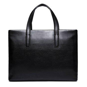Simple PU Leather and Black Design Men's Briefcase