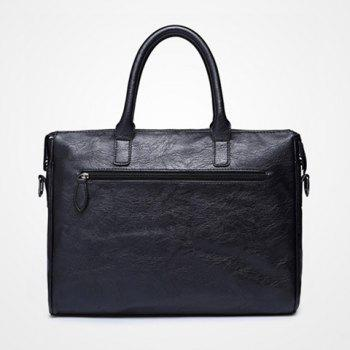 Vintage Black and PU Leather Design Men's Briefcase - BLACK