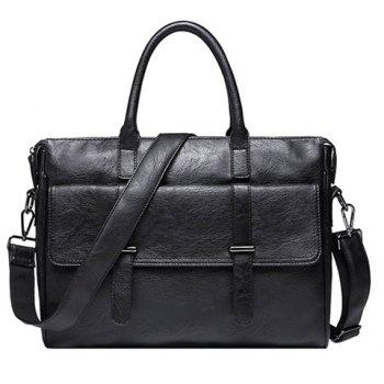 Vintage Black and PU Leather Design Men's Briefcase