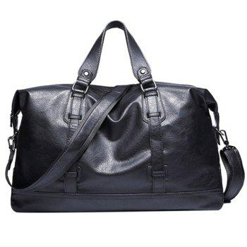 Leisure Black and PU Leather Design Men's Tote Bag